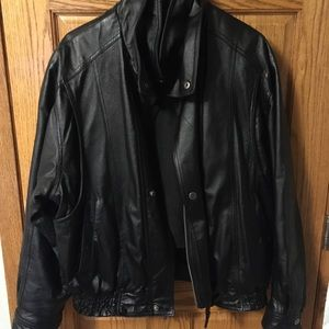 Black leather jacket with removable lining
